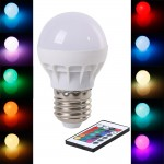 3W RGB Round Bulb with Remote Control