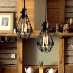 618 Vintage Bird Cage Pendant Lamp (Black)