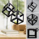 619 Small Black Cube Cage Retro Pendant (Black)