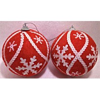 10cm Velvet Ball with Snowflake (Red)