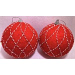 10CM Velvet Ball with Stripe (Red)
