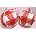10cm Red & White Velvet Ball