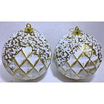 10cm Matt Ball- White & Gold