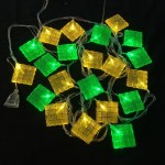 20LED Straight Line Crystal Ketupat (Green & Yellow)