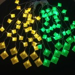 80LED 3Meter LED Curtain Crystal Ketupat (Green & Yellow)