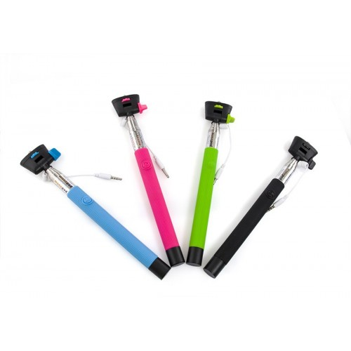 extendable audio cable wired selfie stick handheld monopod. Black Bedroom Furniture Sets. Home Design Ideas